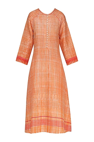 Red and Orange Block Printed Chanderi Tunic by Krishna Mehta