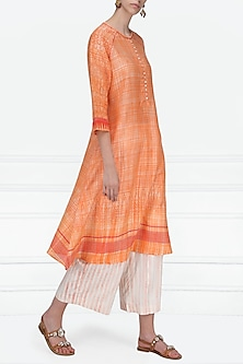 Red and Orange Block Printed Chanderi Tunic by Krishna Mehta