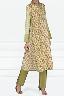 Green and Ivory Block Printed Tunic by Krishna Mehta