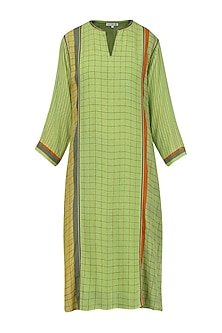 Olive Green Printed Tunic by Krishna Mehta