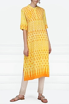 Yellow and Orange Block Printed Tunic by Krishna Mehta