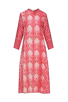 Melon Red and White Block Printed Tie-Dye Tunic by Krishna Mehta