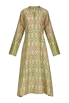 Green Asymmetrical Block Printed Tunic by Krishna Mehta