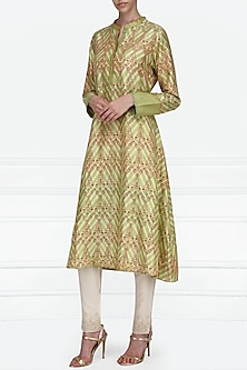 Green Asymmetrical Block Printed Tunic by Krishna Mehta