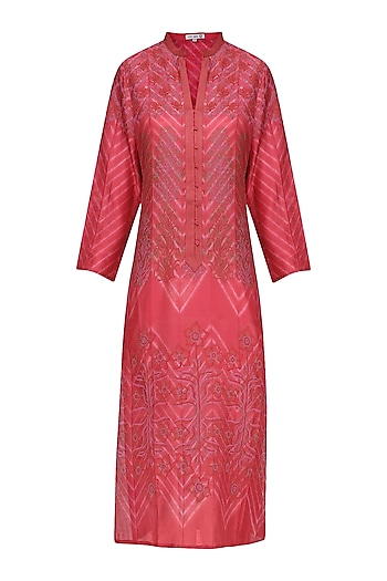 Fuschia Pink Block Printed Tie-Dye Tunic by Krishna Mehta