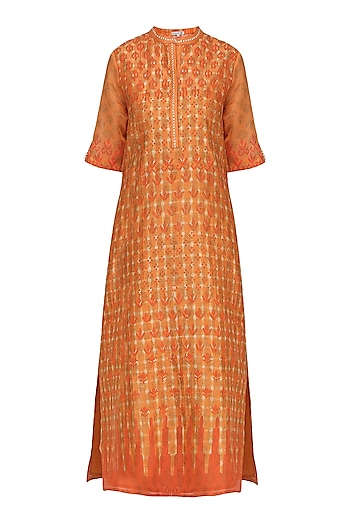 Orange Block Printed Tie-Dye Tunic by Krishna Mehta