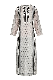 White and Black Block Printed Tunic by Krishna Mehta
