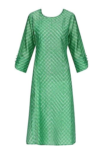 Green Block Printed Tie-Dye Tunic by Krishna Mehta