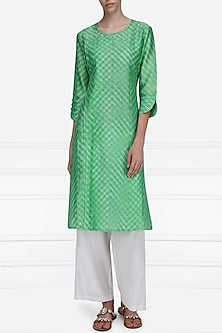 Green Block Printed Tie-Dye Tunic by Krishna Mehta