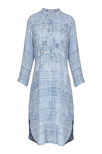 Blue and White Block Printed Tunic by Krishna Mehta