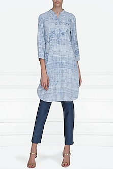 Blue and White Block Printed Tunic by Krishna Mehta