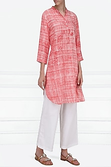 Pink and White Block Printed Tunic by Krishna Mehta
