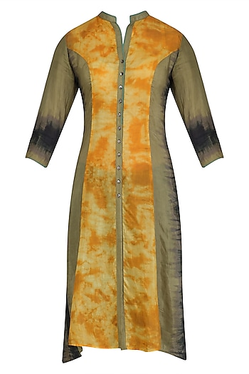 Saffron Tye and Dye Print Jacket Style Tunic by Krishna Mehta
