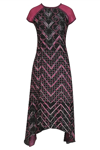 Purple and Black Abstract Printed Tunic by Krishna Mehta