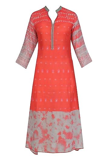 Coral and Grey Shaded Tye and Dye Tunic by Krishna Mehta