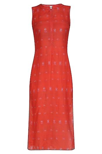 Coral Tye and Dye Print Sleeveless Tunic by Krishna Mehta