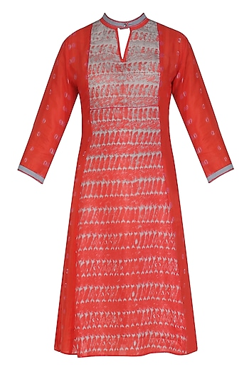 Coral and ?Grey Tye and Dye Print Tunic by Krishna Mehta
