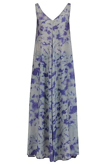 Navy and Grey Tye and Dye Print Maxi Dress by Krishna Mehta