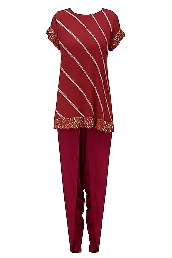 Red Rose Embroidered Tunic and Dhoti Pants Set by Krishna Mehta
