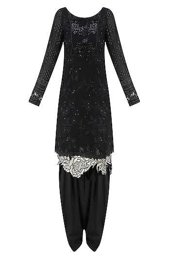 Black Embroidered Full Sleeves Tunic and Shaded Pants Set by Krishna Mehta