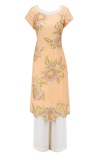 Peach Floral Embroidered Tunic with Ivory Palazzo Pants by Krishna Mehta
