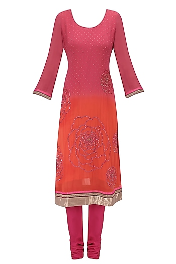 Pink Floral Embroidered Shaded Kurta Set by Krishna Mehta
