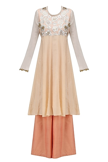 Peach Floral Embroidered Kurta and Palazzo Pants Set by Krishna Mehta