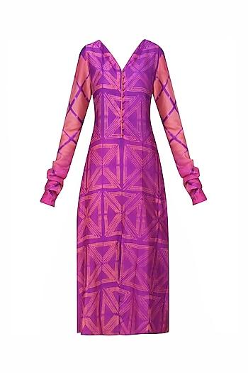 Peach and Purple Tye and Dye Printed Tunic by Krishna Mehta
