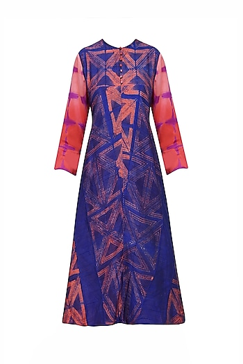 Peach and Blue Tye and Dye Printed Tunic by Krishna Mehta