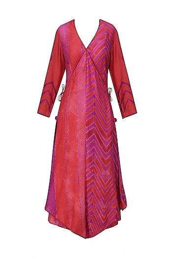 Red and Purple Tye and Dye Printed Tunic by Krishna Mehta
