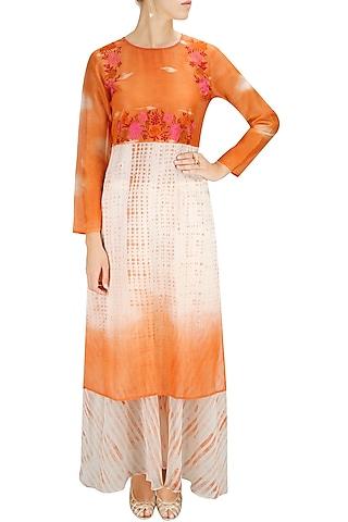 Orange and white embroidered kurta with block printed palazzos by Krishna Mehta