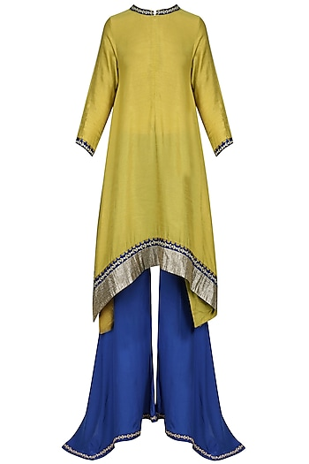 Mustard Jalleba and Blue Flared Pants Set by Krishna Mehta