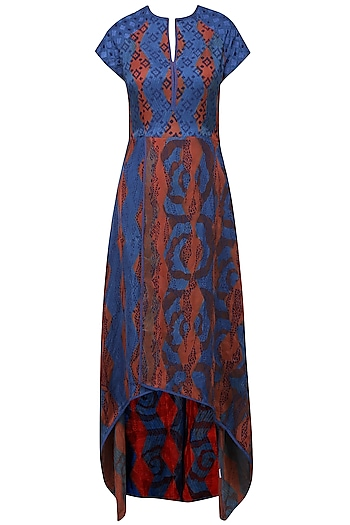 Rust Orange and Blue Tye and Dye Printed Tunic by Krishna Mehta
