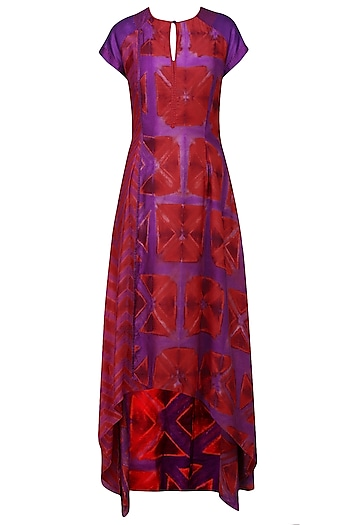 Red and Purple Tye and Dye Printed Tunic by Krishna Mehta