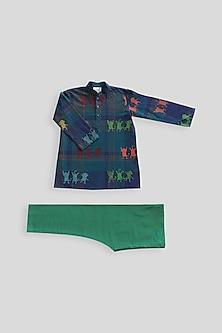 Navy Blue & Green Printed Kurta Set by Krishna Mehta Kids