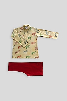 Beige & Maroon Tie-Dye Printed Kurta Set by Krishna Mehta Kids