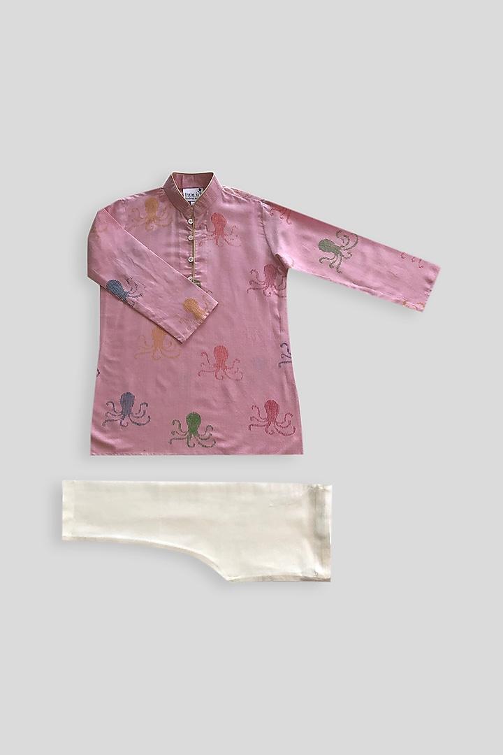 Pink Printed Kurta Set by Krishna Mehta Kids