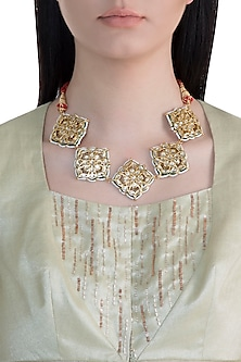 22k Gold Plated Meenakari Kundan & Pearls Choker Necklace by Just Shraddha