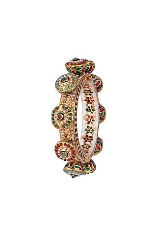 22Kt Gold Plated Meenakari Pearl & Stone Pacheli Bangle by Just Shraddha