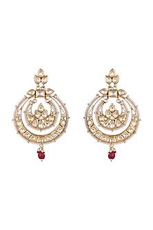22Kt Gold Plated Polki Stone, Semi Precious Ruby & Pearls Chandbali Earrings by Just Shraddha