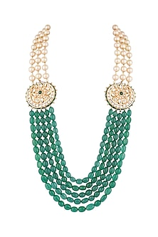 22k Gold Plated Meenakari Kundan, Emerald & Pearls Layered Necklace by Just Shraddha