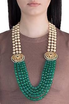 22k Gold Plated Meenakari Kundan, Emerald & Pearls Layered Necklace by Just Shraddha