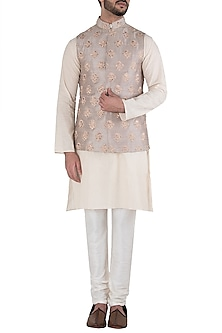 Peach Embroidered Waist Coat by Kommal Sood