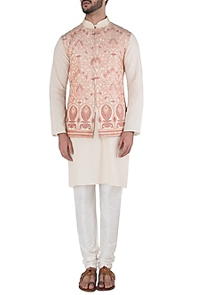 Peach and Cream Embroidered Waist Coat by Kommal Sood
