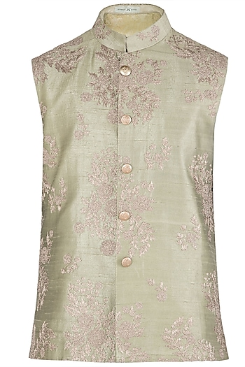 Light Green Embroidered Waist Coat by Kommal Sood