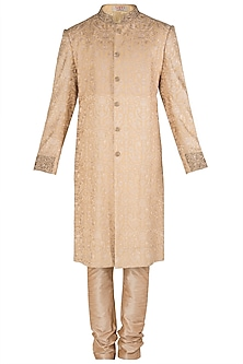 Gold Beige Embroidered Sherwani Set by Kommal Sood
