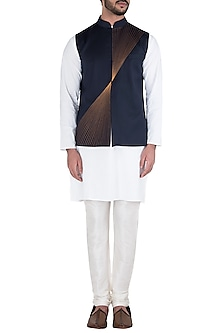 Navy Blue Embroidered Waist Coat by Kommal Sood