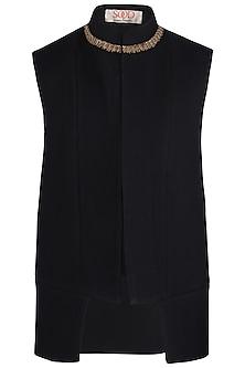 Black Embroidered Waist Coat by Kommal Sood