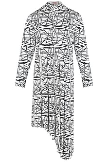 White and Black Graphic Printed Asymmetrical Kurta by Kommal Sood