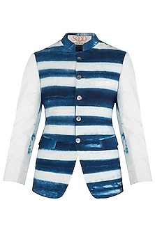 Blue and White Clamp Dyed Waist Coat by Kommal Sood